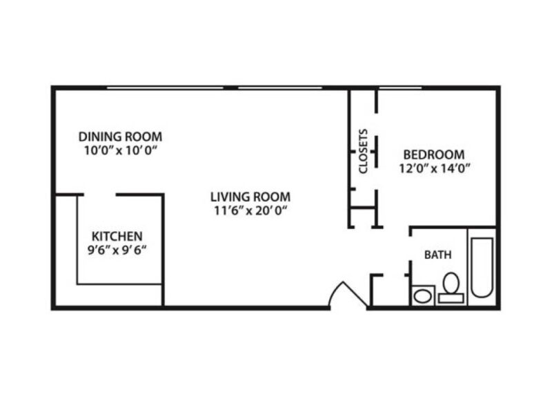 One Bedroom One Bath Apartment